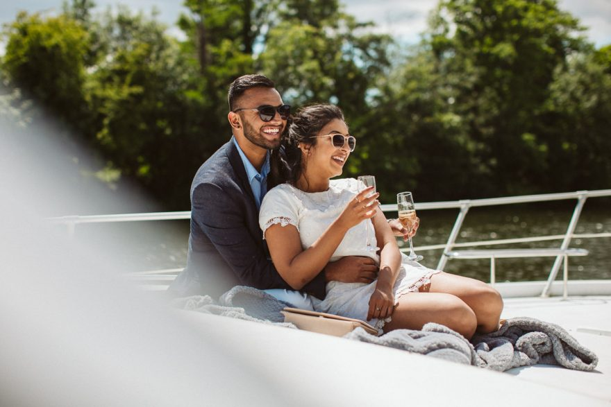 London surprise proposal photos from a yacht cruise on a river thames
