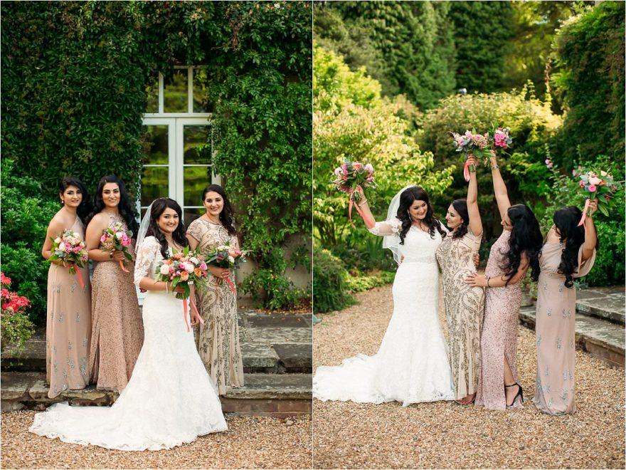 Bridesmaids photos during an outdoor wedding at Hexton Manor