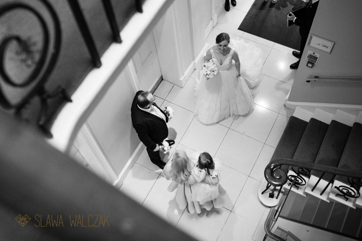 bride and her bridesmaids awaiting their entrance to the Asia House in London