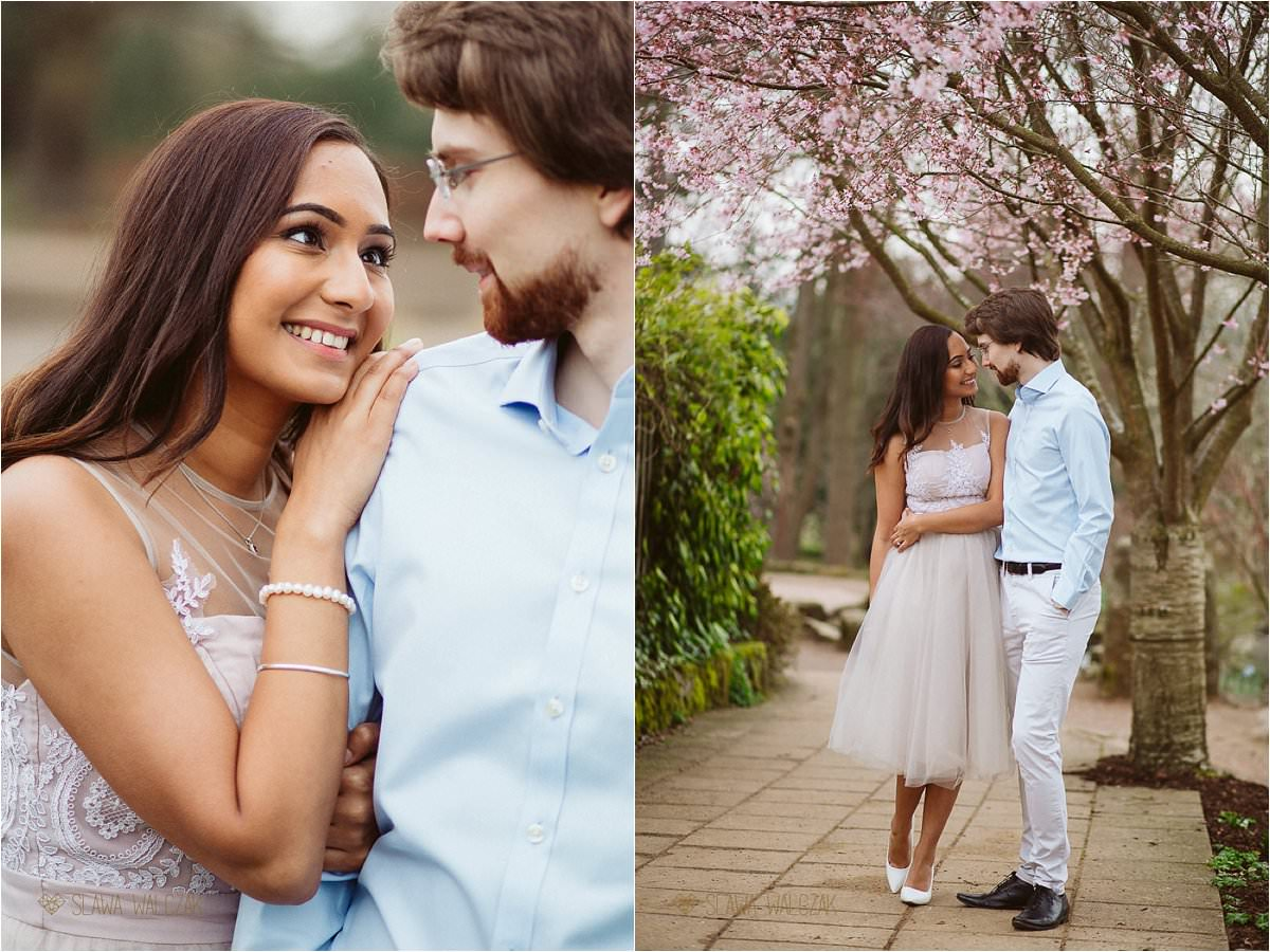 romantic blossom Indian Engagement Photography London