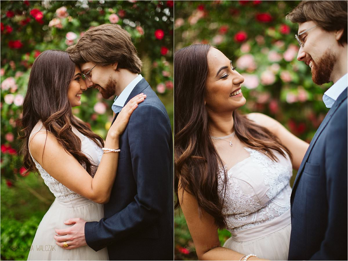 Indian Engagement Photography London in rose blossom