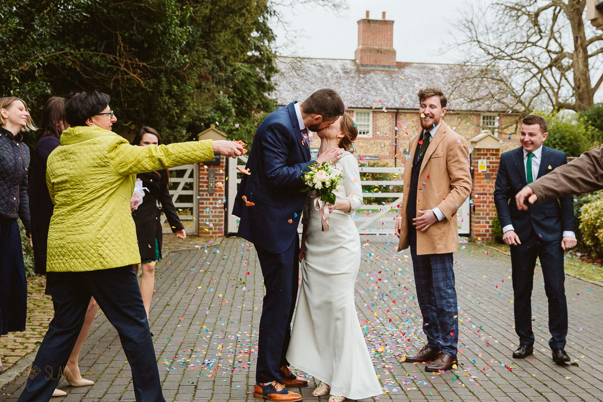 confetti photo during a wedding in Marlow at Compleat Angler Hotel