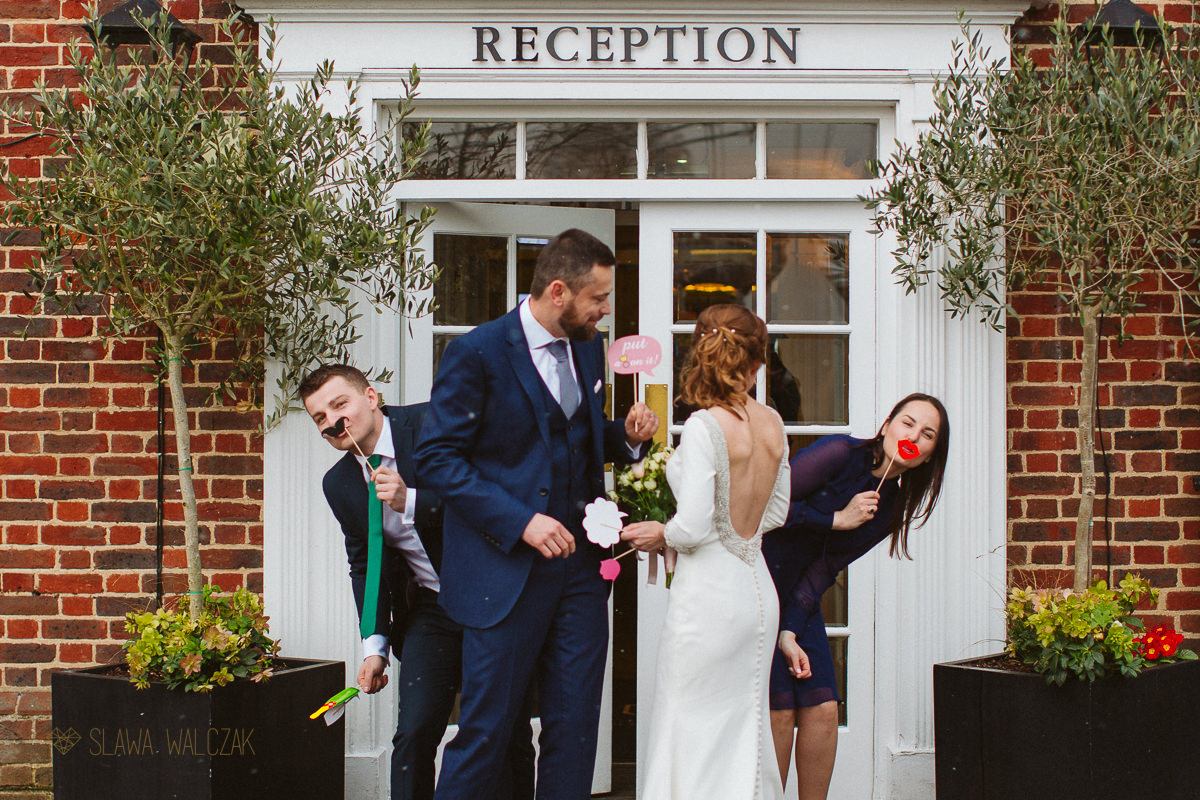 fun couple photos outside the Compleat Angler Hotel in Marlow