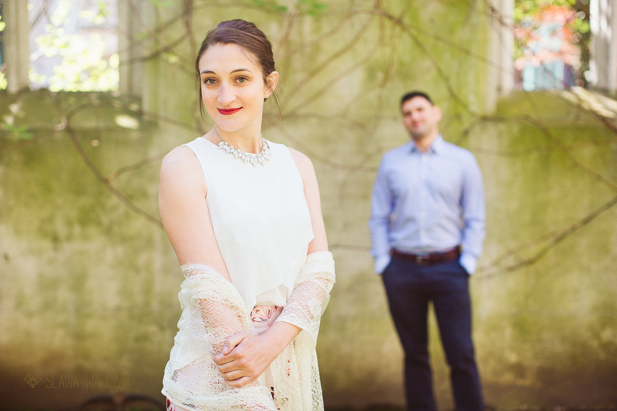 romantic engagement photos at St Dunstan in the East in London