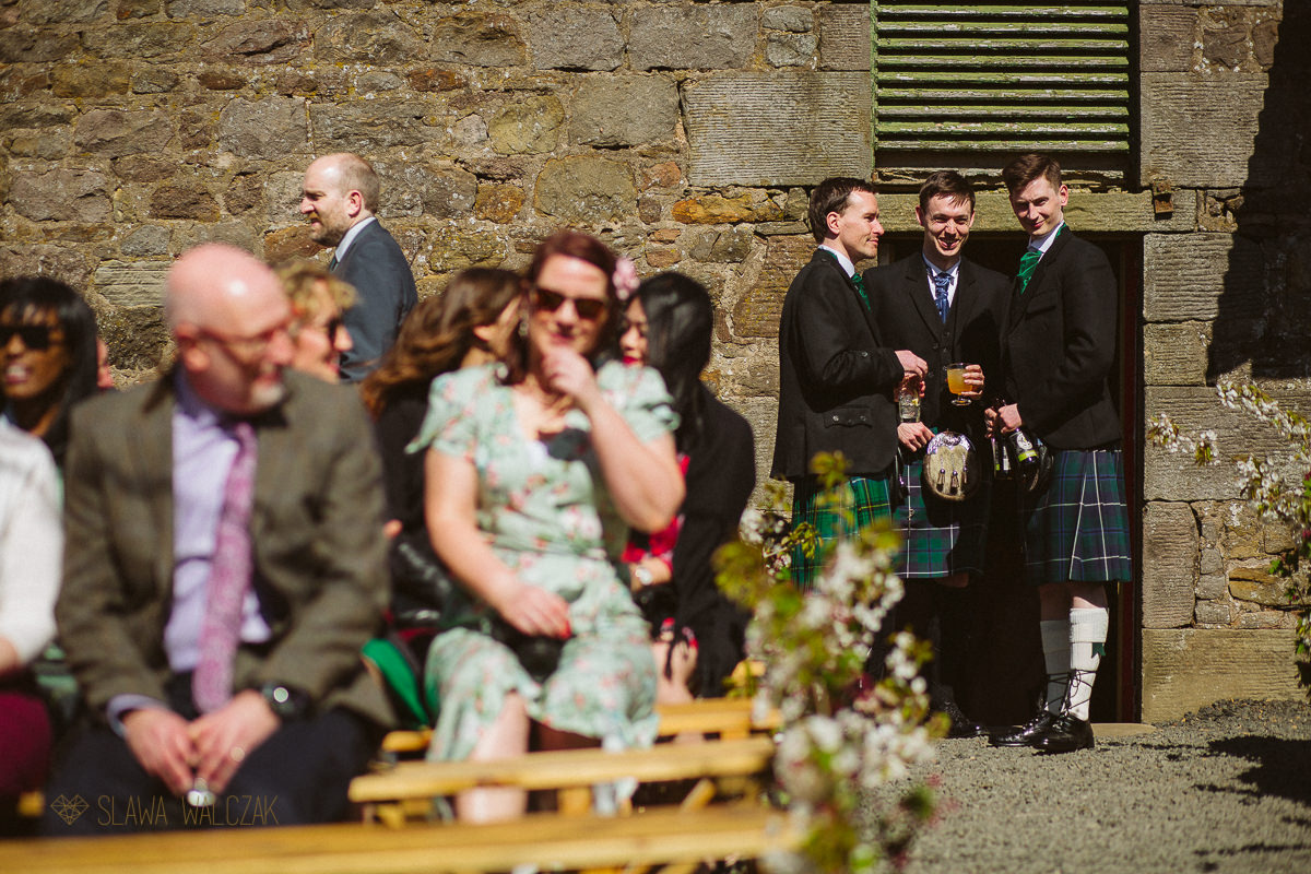 groom awaiting bride's entrance during a humanist wedding in Scotland