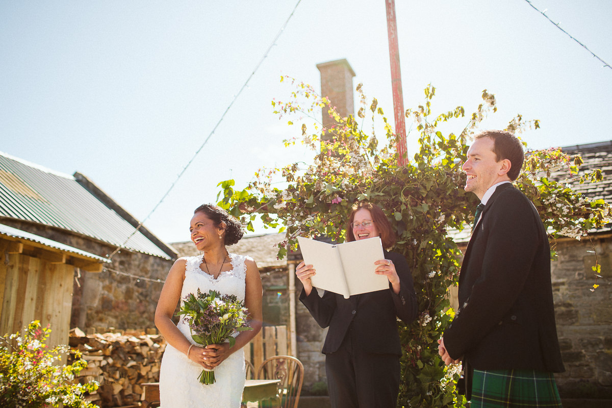 outdoor humanist ceremony at a Farm in Scotland