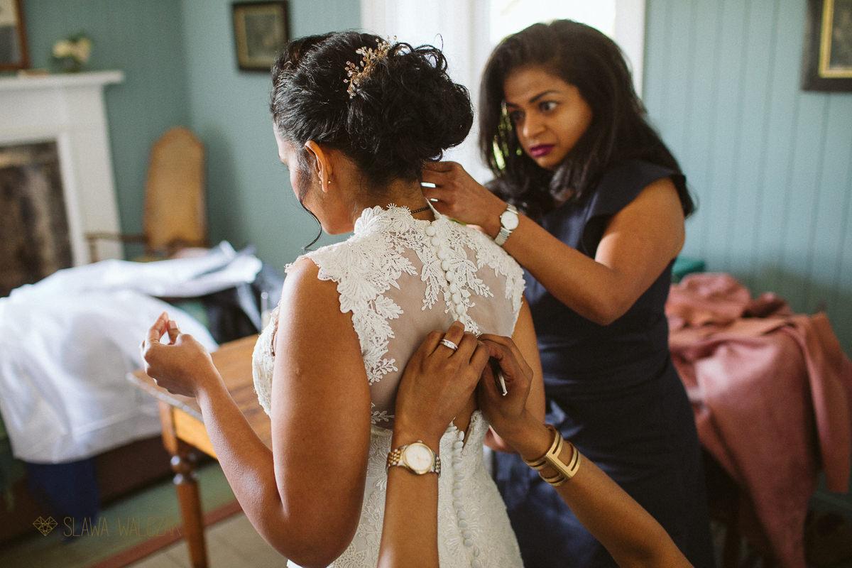 bride getting ready at Cockdurno Farm Wedding Photography Edinburgh Scotland