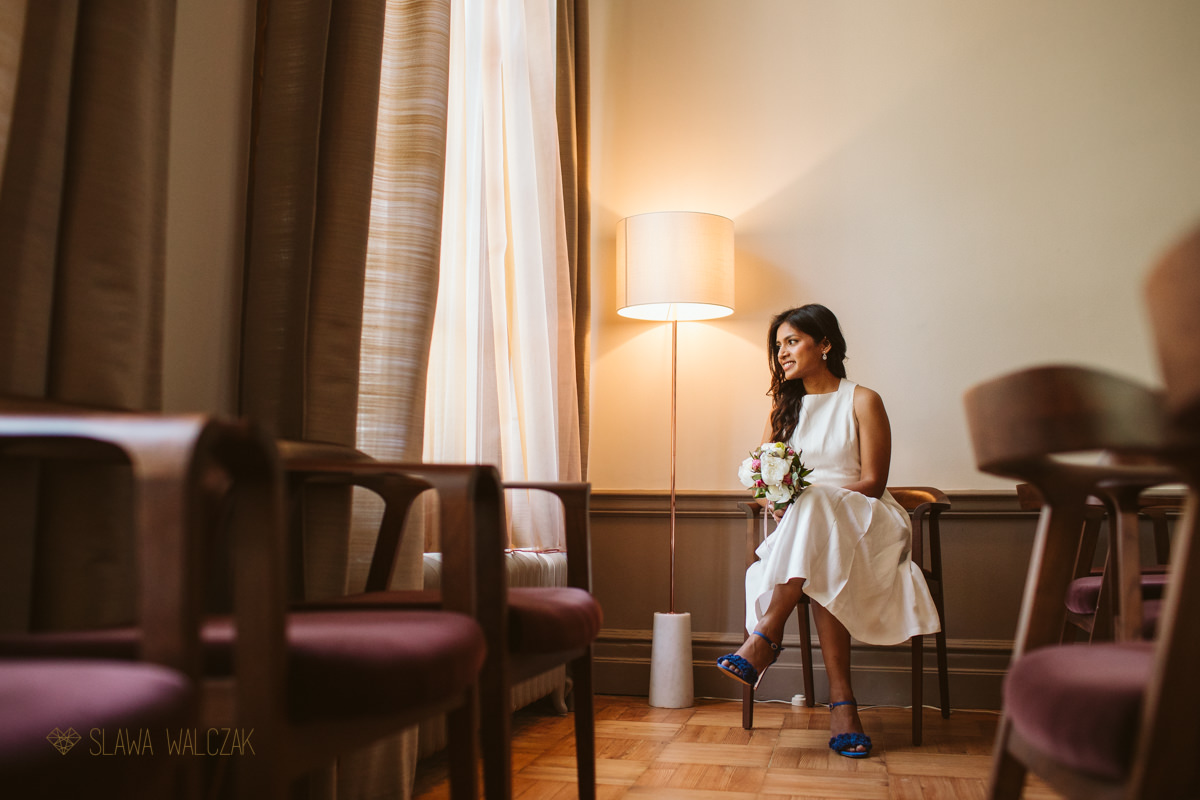 bridal portraits at Old Marylebone Town Hall in London