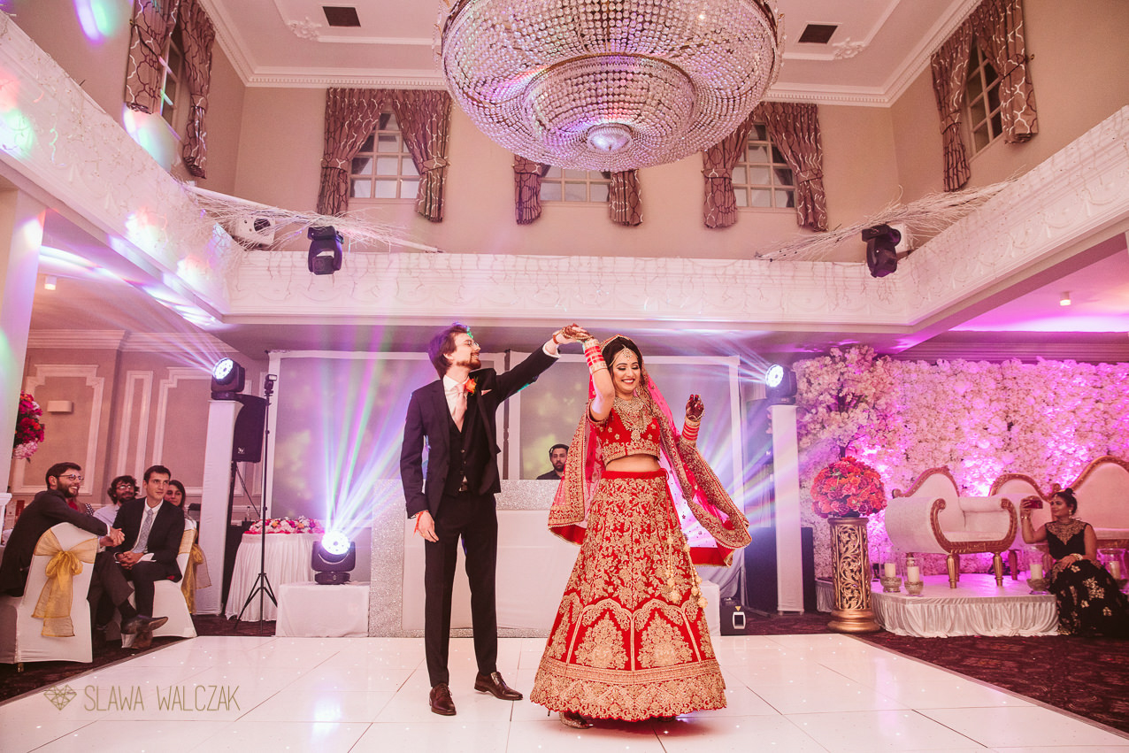 Documentary photo coverage of a first dance at an Indian Wedding in London