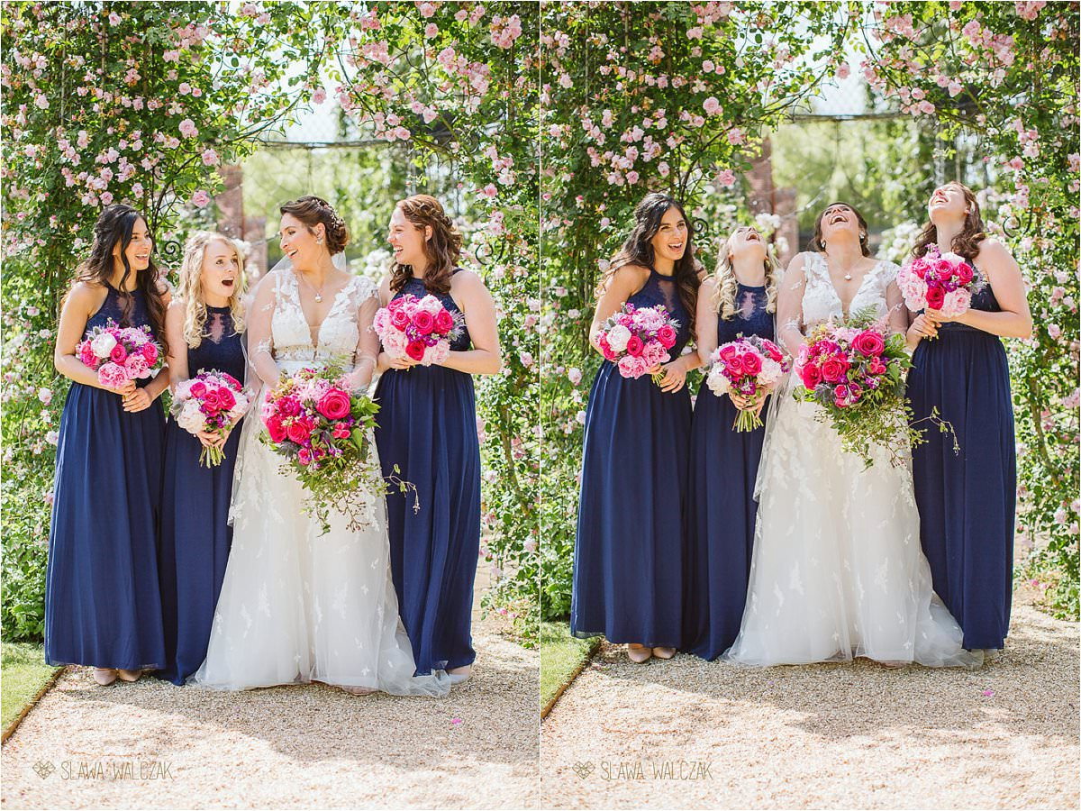 bride and her bridesmaids at The Dairy at Weddesdon Manor Wedding Photography