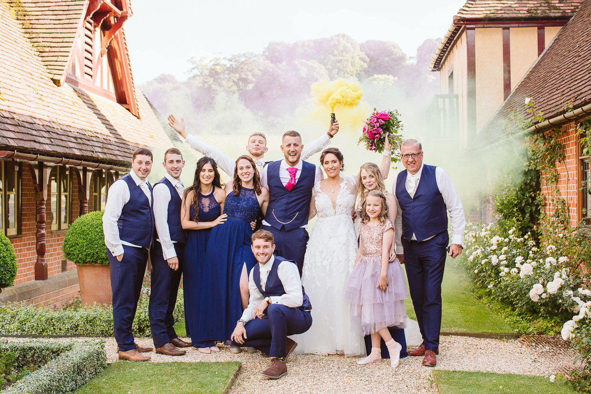 smoke bomb couple wedding photography