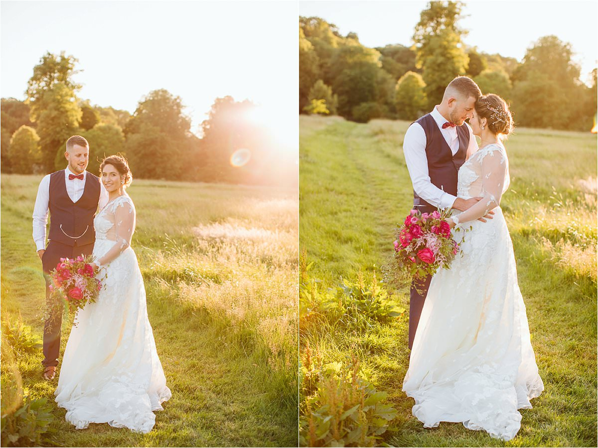 golden hour couple photography at a wedding in the Dairy in Waddesdon