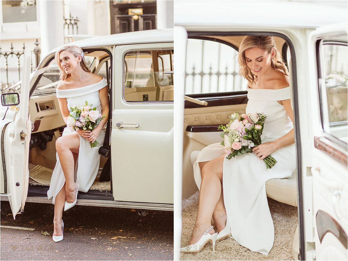 bride getting out of the London cab