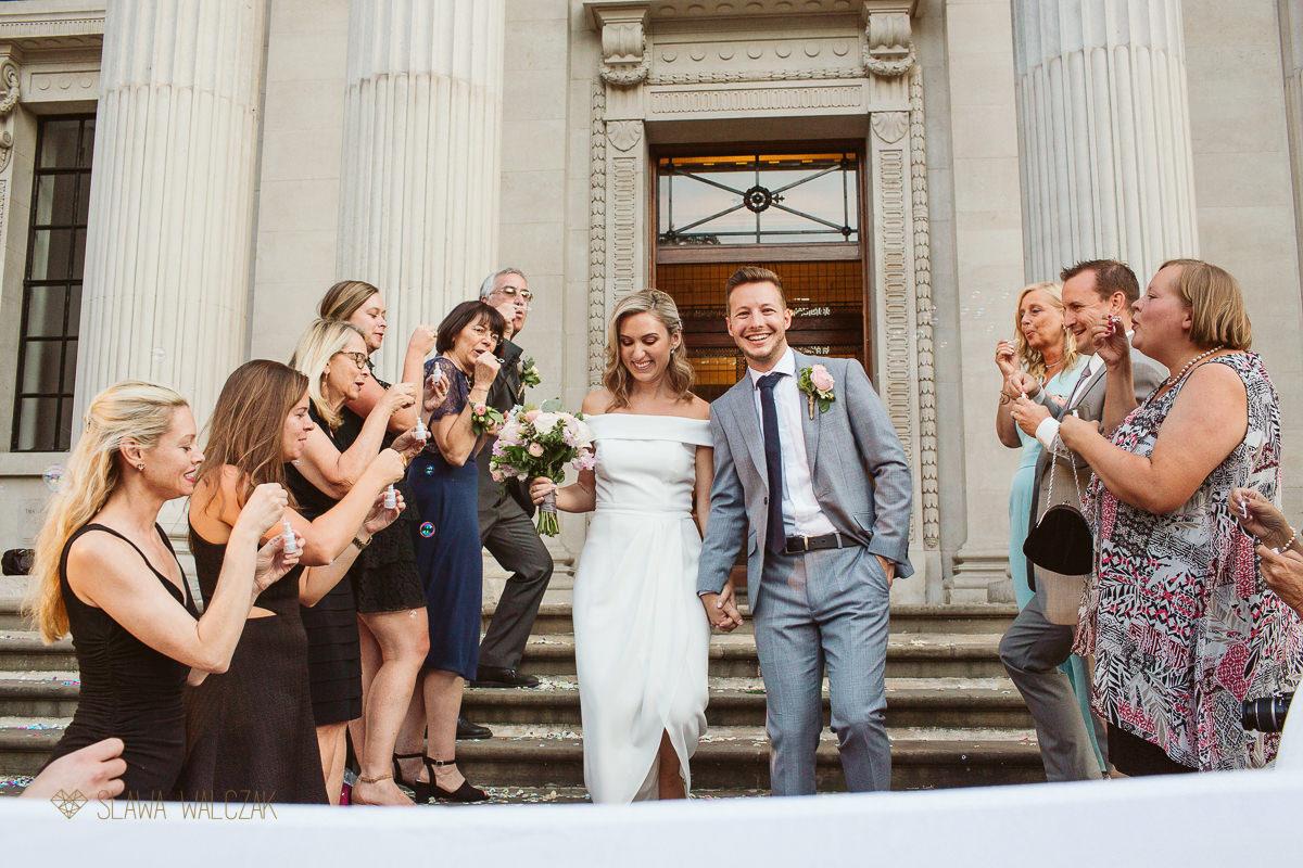 bubble exit after the civil wedding