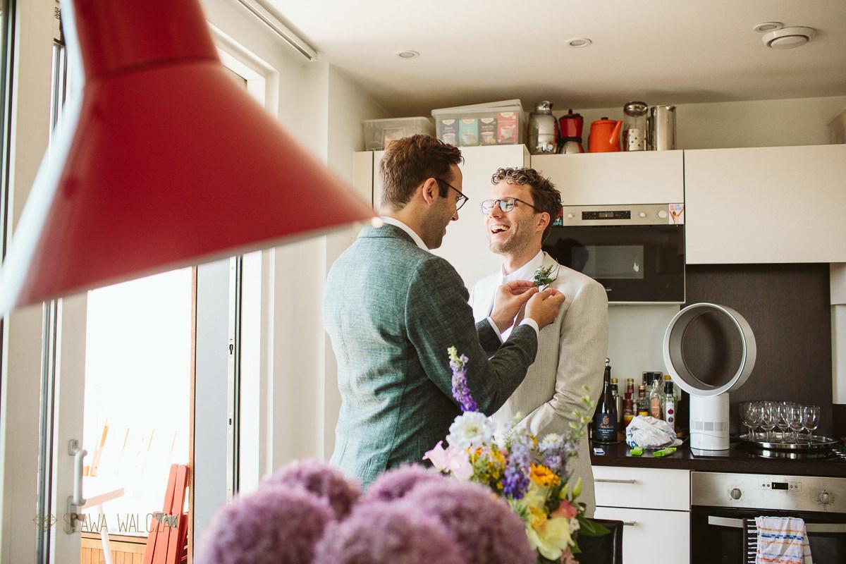 gay guys getting ready for their London same sex wedding
