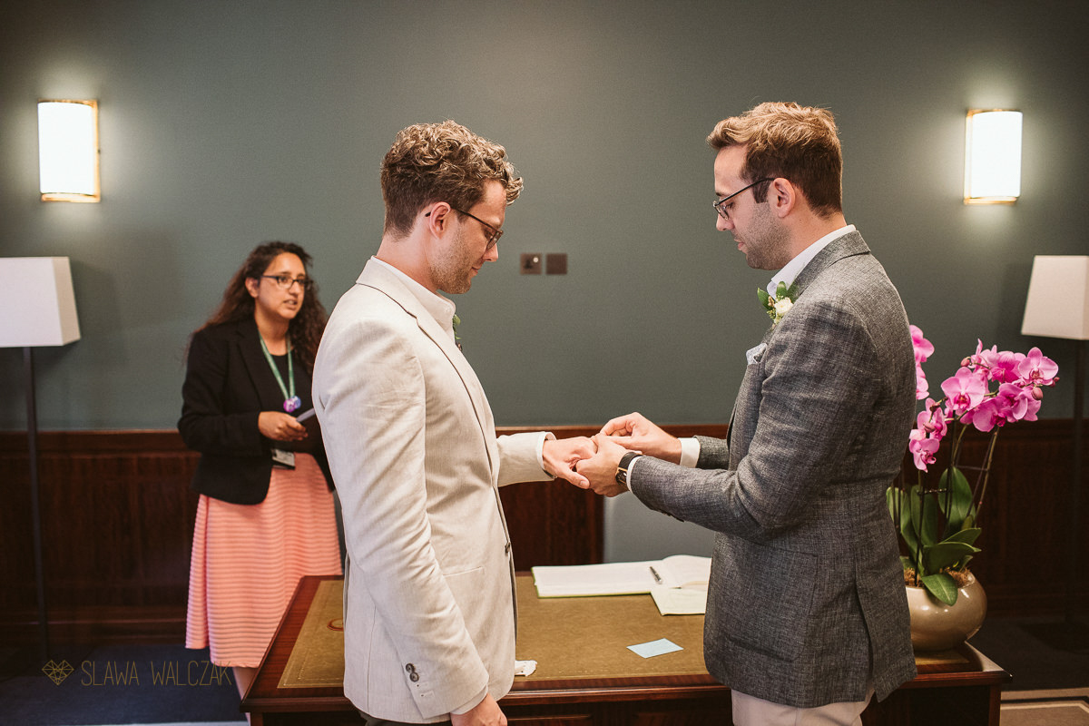 ring exchange at a Gay wedding in London