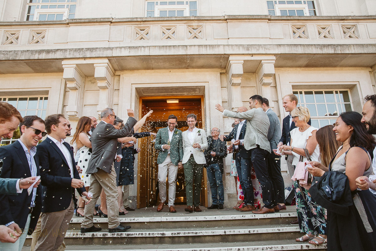 confetti wedding photography at Hackney Town Hall
