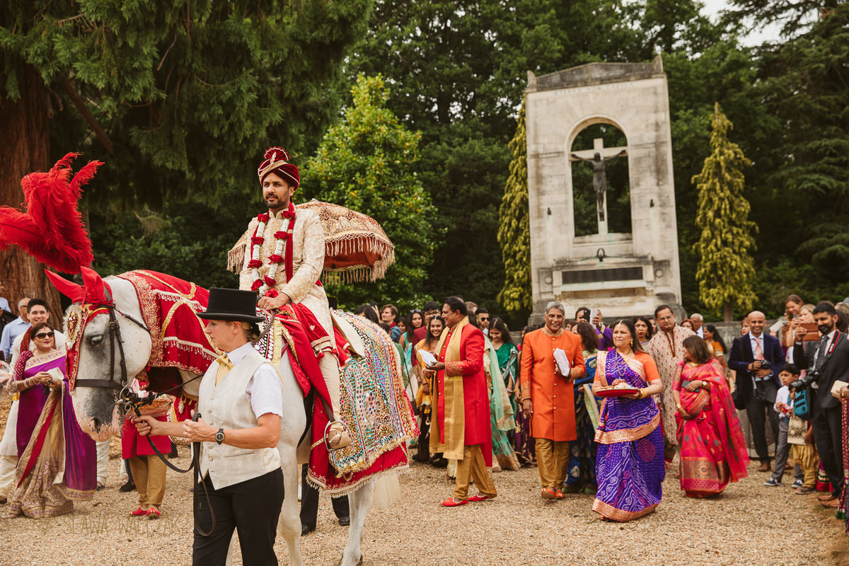 groom's horse baraat an a Hindu wedding in Windsor