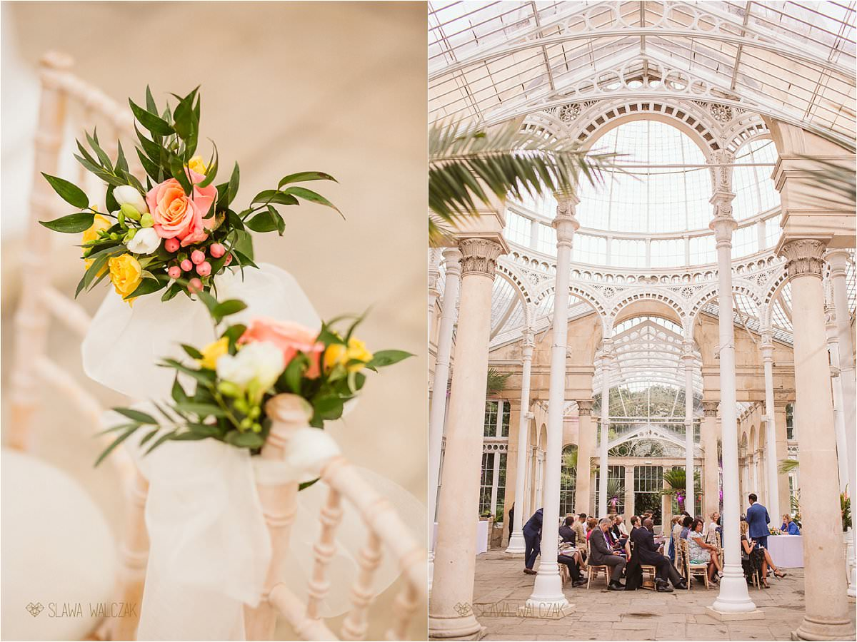 interior and details shots of a wedding at a Great Conservatory in Syon Park