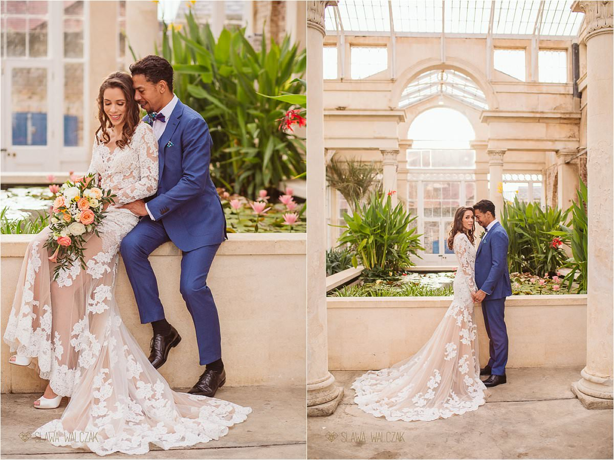 Romantic couple shoot photos from a wedding in the Great Conservatory Syon Park