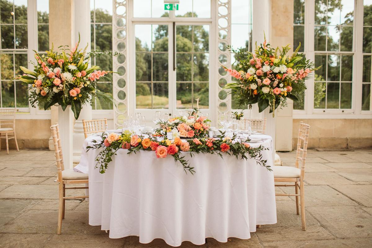 wedding floral table decor at Syon Park