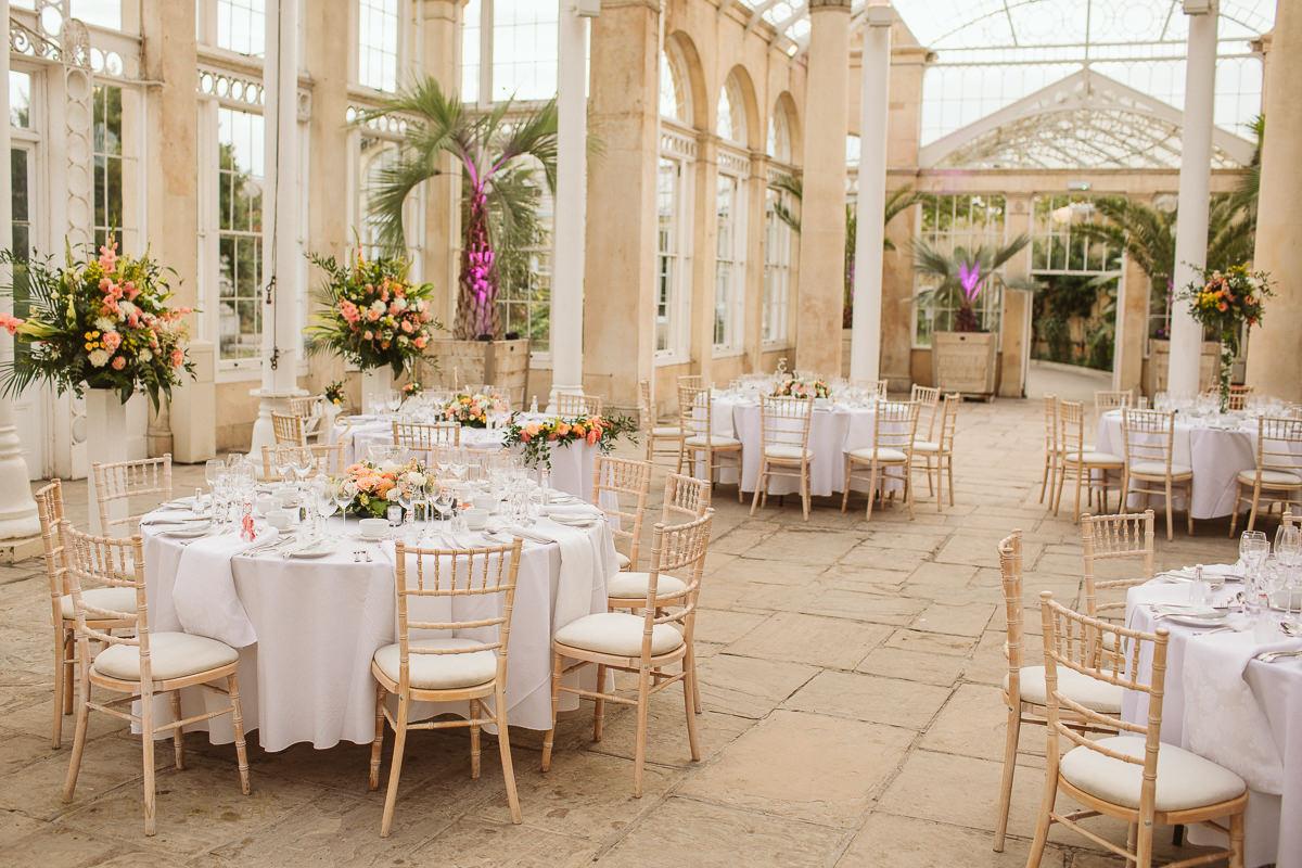 floral wedding decor at Syon Park