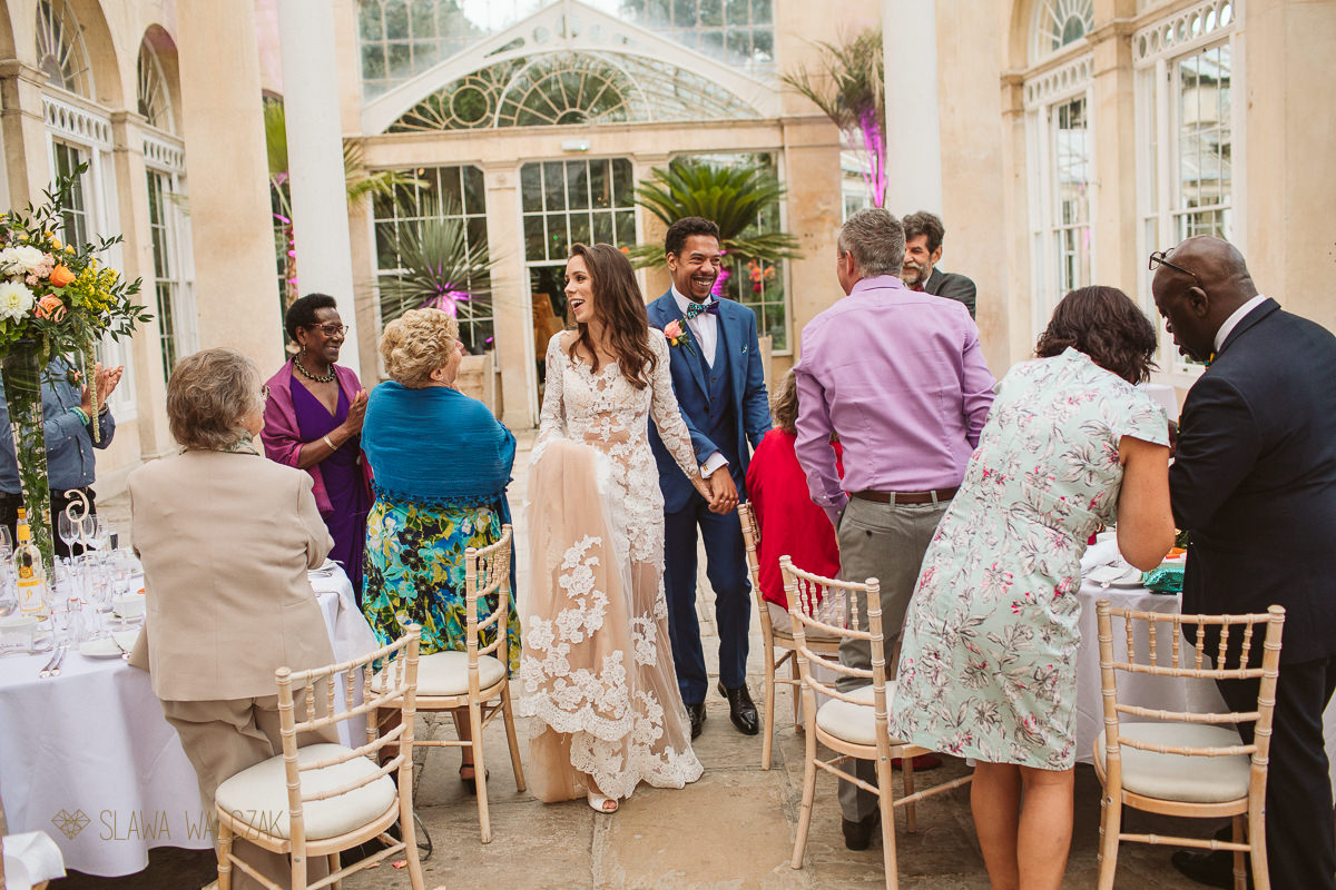 Bride and Groom enter the Conservatory at Syon Park