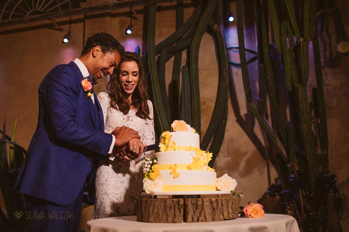 Cake cutting at Syon Park wedding