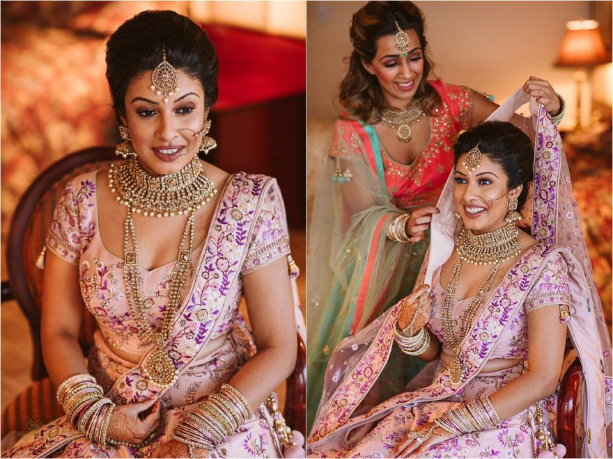 Documentary photos of a bride getting ready at an Asian destination wedding in Malta