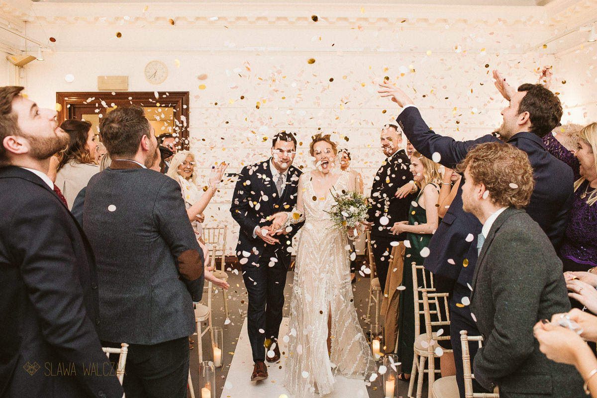 Confetti photo at a London wedding photography in Fulham Library