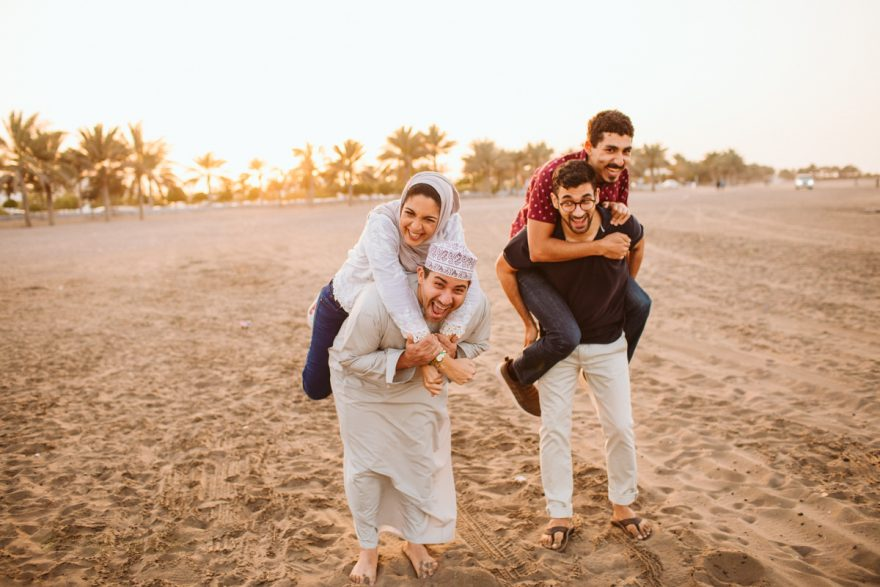 fun, piggie bag family photo shoot in Oman