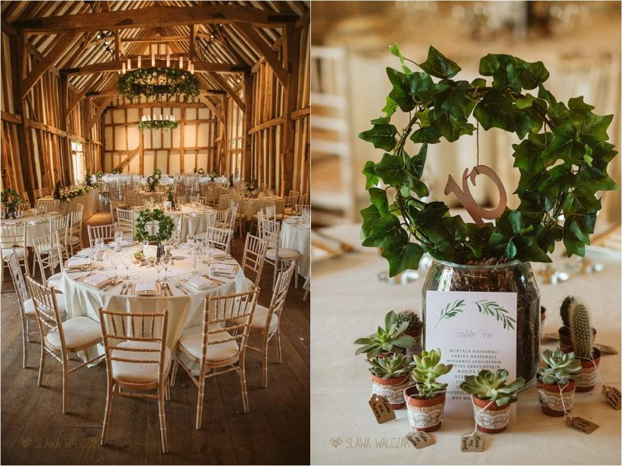 Wedding decor at a barn wedding in Micklefiled Hall Rickmansworth