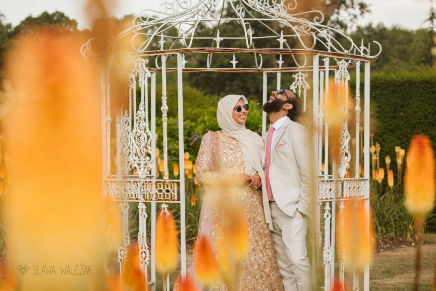 beautiful wedding couple photoshot at the gardens of Mickelfield Hall