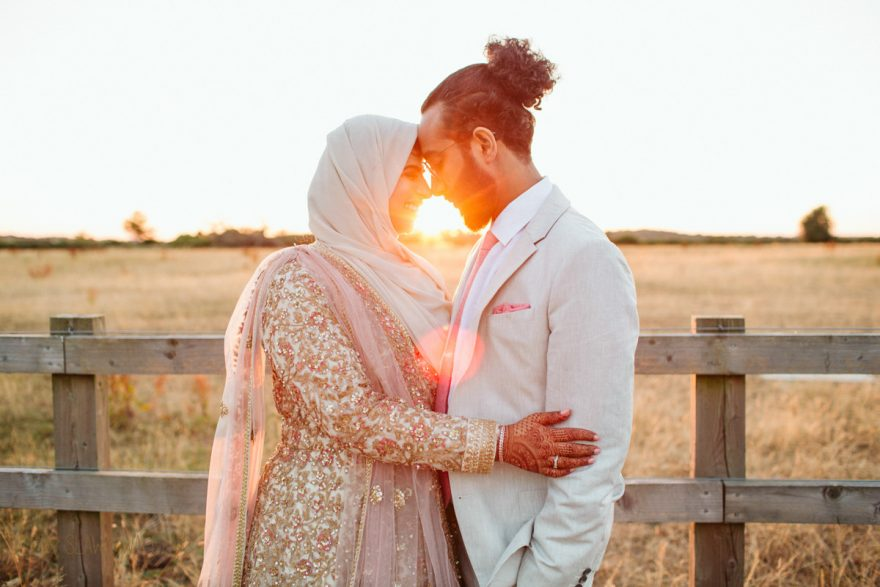 Golden Hour photos at an Asian Wedding photography in Mickelfield Hall