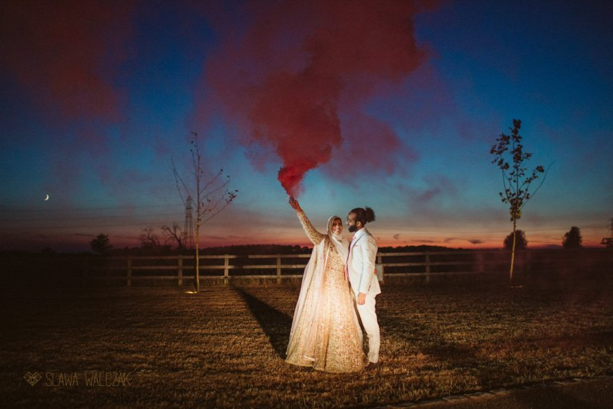 smoke bombs at a couple photography at an Asian Wedding