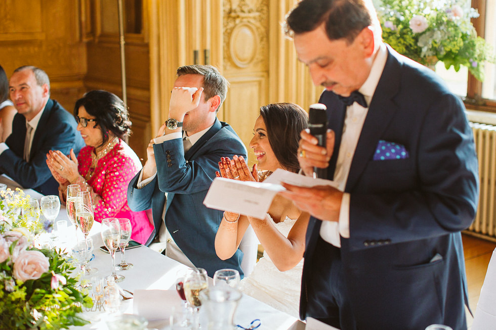 father speeches at a Hindu Indian Wedding in Harlaxton Manor