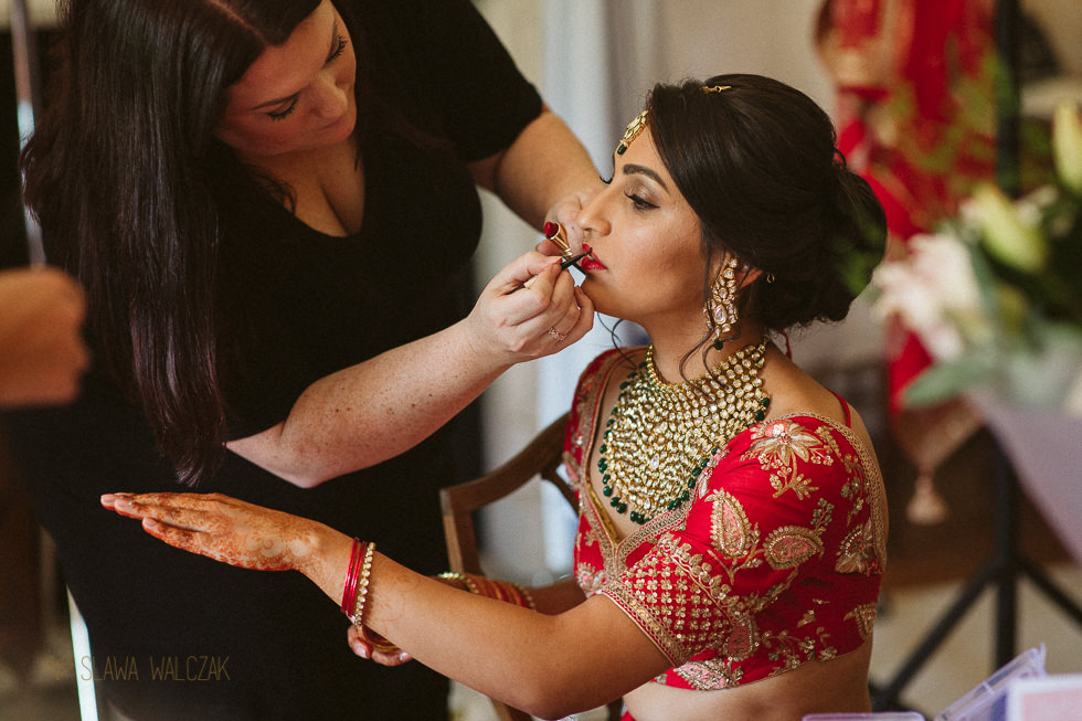 bride ready for her Asian wedding at Harlaxton Manor