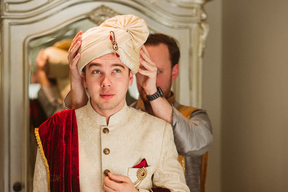 Groom getting ready for his Asian fusion wedding