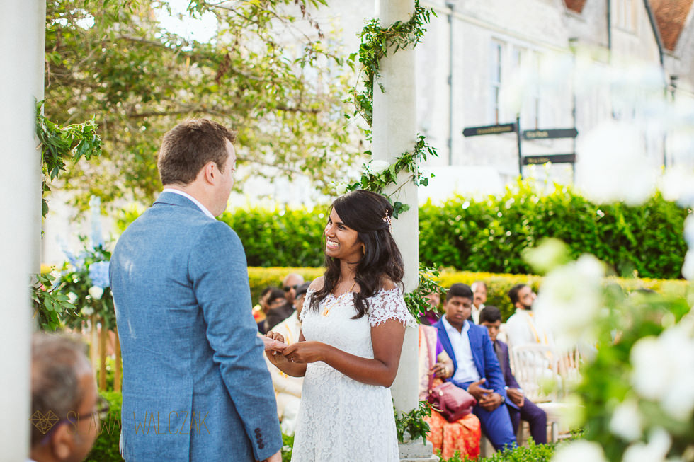 Tamil Bride during her civil wedding ceremony at Froyle Park