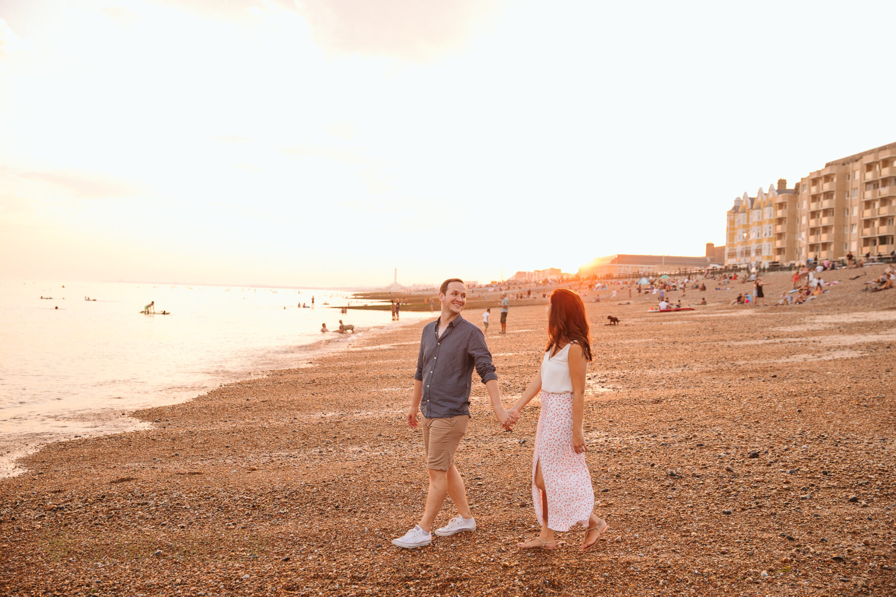 golden hour negagment photos from Brighton Beach