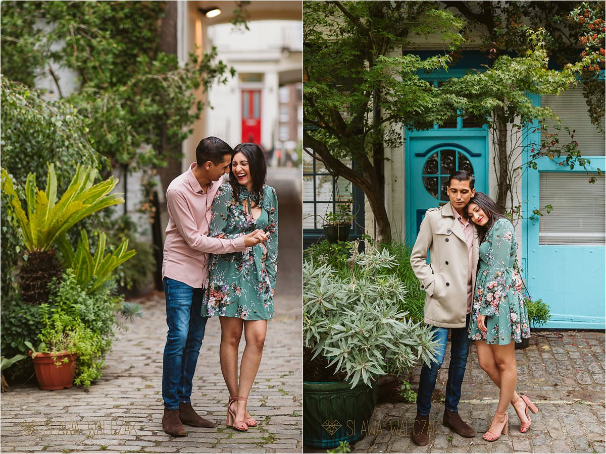 loved up Asian couple posing for ther pre wedding photoshoot on London streets