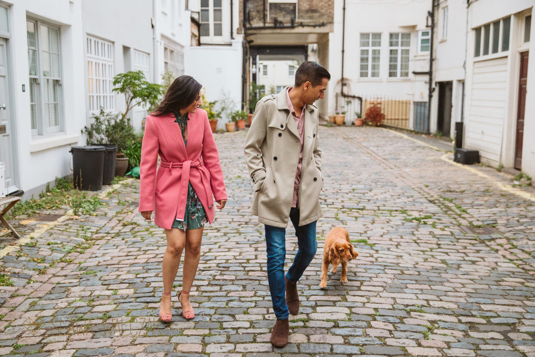 Asian couple walking on London Streets for their pre wedding photos