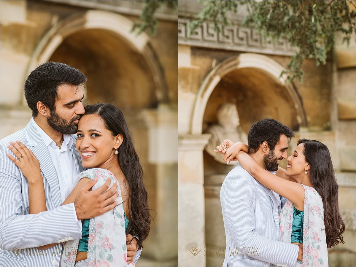Natural and romantic engagement photo shoot Chiswick House couple in love embracing each other