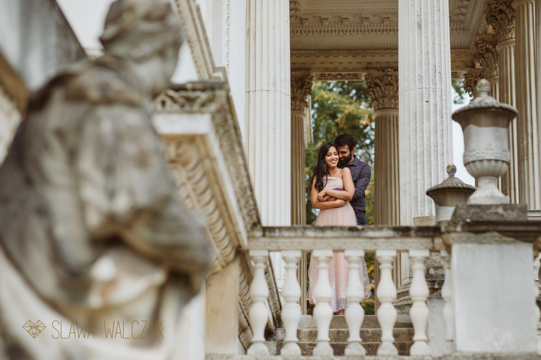 Pre wedding photographer Chiswick House posing Asian couple for their engagement photos