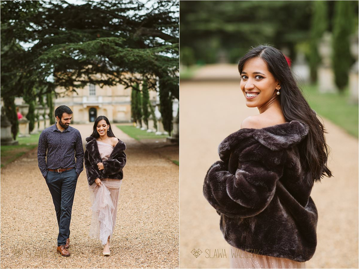 Asian couple walking through Chiswick House and Gardens while posing for photos