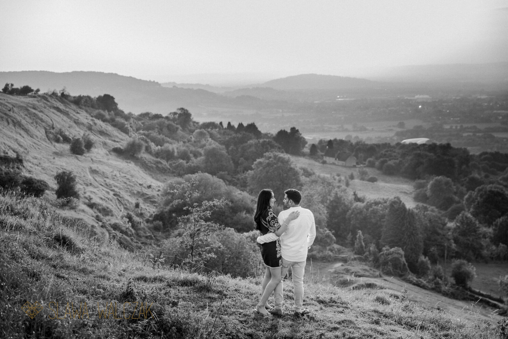 cheltenham engagement photo with a beautiful view