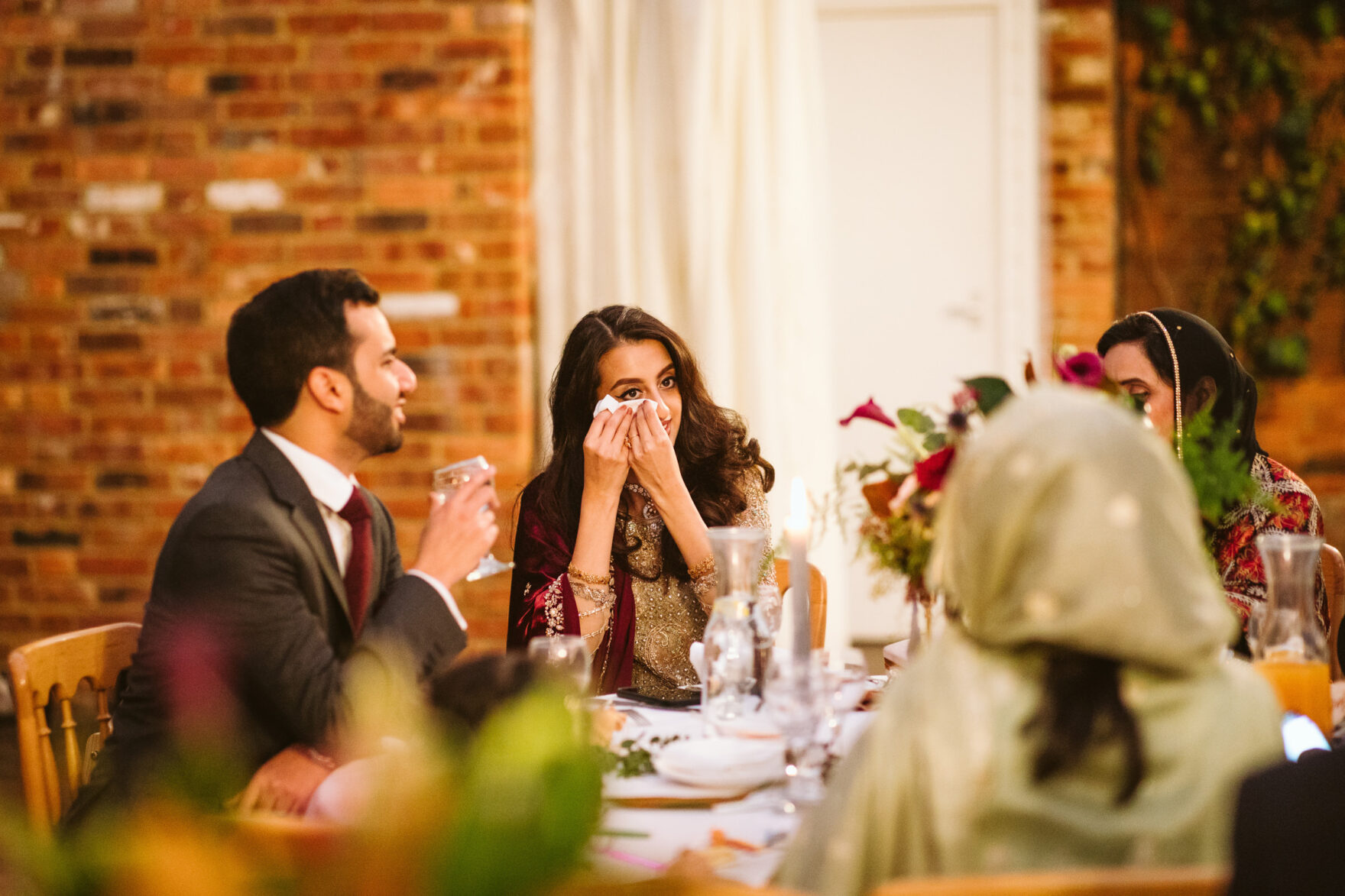 Guest crying at a Nikka Wedding in London