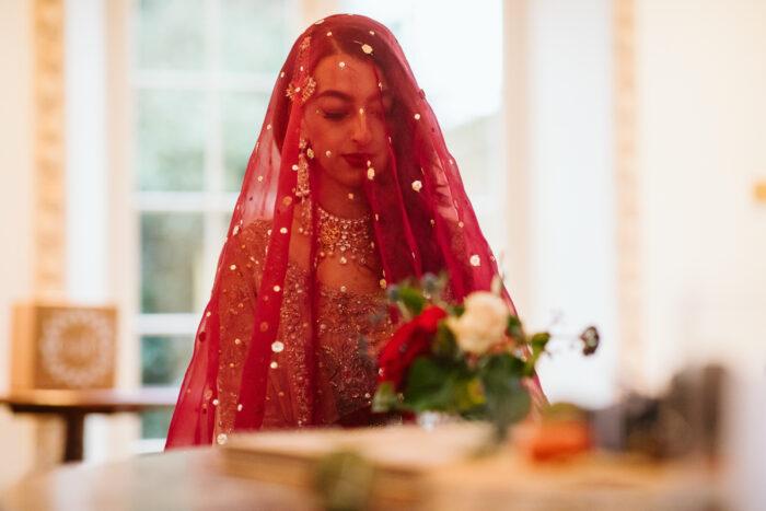 London Muslim wedding photography Islamic bride in a veil