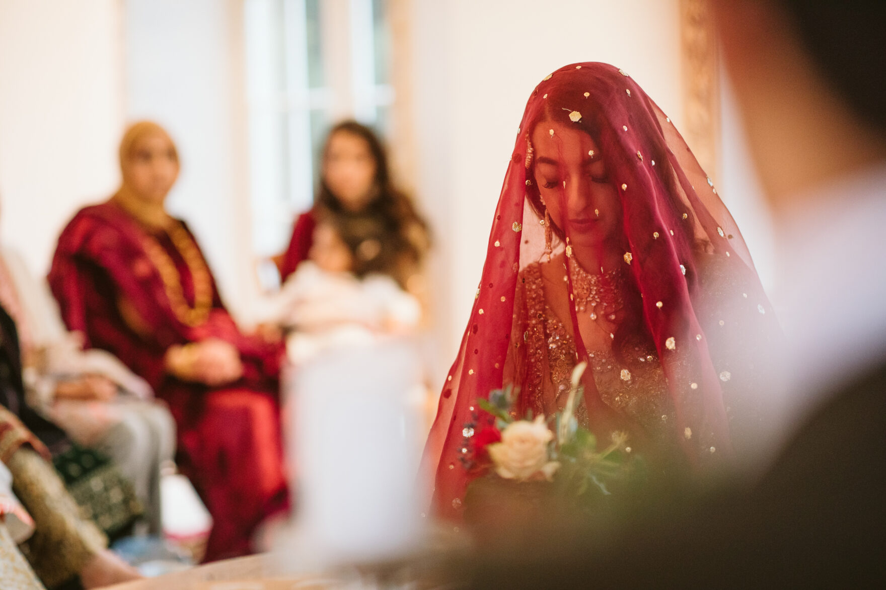 Bride in a veil cover at a Nikkah Ceremony in London