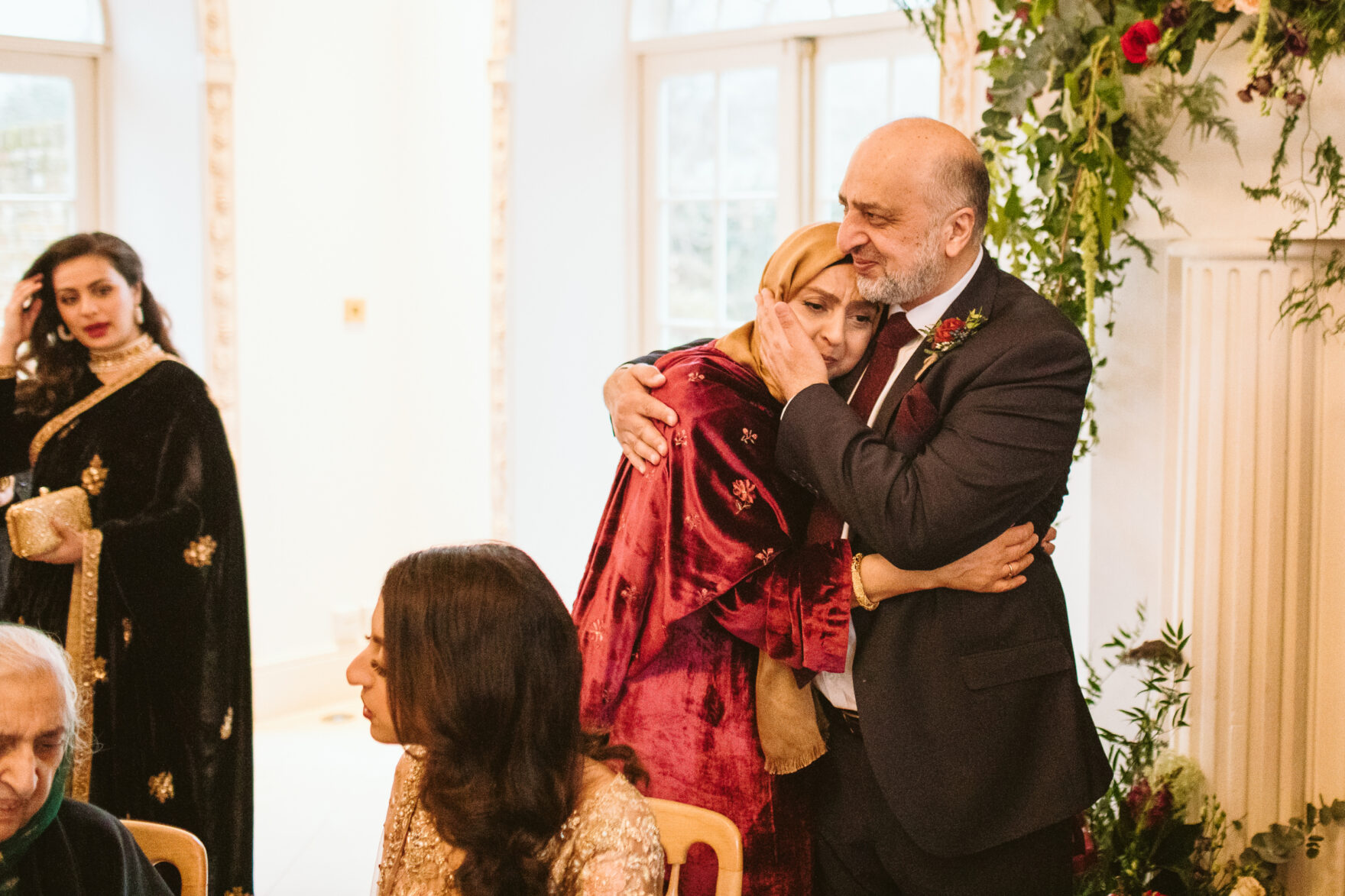 mother of the bride crying at her daughter wedding